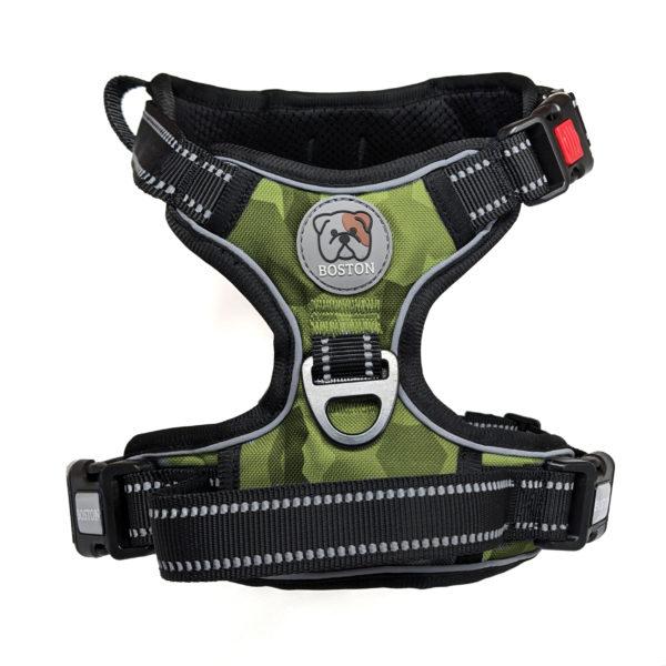 Boston Anti-Pull Dog Harness 2.0 - Green Geo-Camo