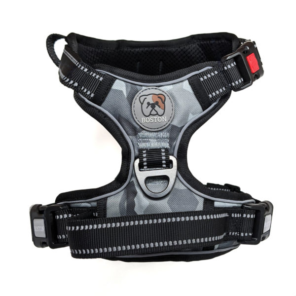Boston Anti-Pull Dog Harness 2.0 - Grey Geo-Camo