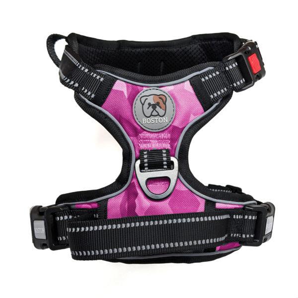 Boston Anti-Pull Dog Harness 2.0 - Pink Geo-Camo